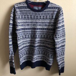 H&M Knit Sweater Top Long Sleeve Crew Neck Print